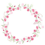 Detailed contour wreath with herbs, roses and wild flowers isolated on white. Round frame for your design. Greeting cards, wedding announcements, posters Royalty Free Stock Photography
