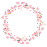 Detailed contour wreath with herbs,roses and wild flowers isolated on white. Round frame for your design Stock Photo