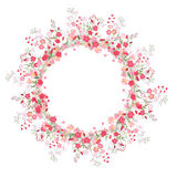 Detailed contour wreath with herbs, roses and wild flowers isolated on white. Round frame for your design Royalty Free Stock Photos