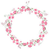 Detailed contour wreath with herbs, roses and wild flowers isolated on white. Round frame for your design Stock Images