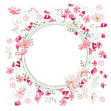 Detailed contour wreath with herbs, sweet peas and wild flowers isolated on white. Round frame for your design. Greeting cards, wedding announcements, posters Royalty Free Stock Image