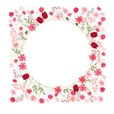Detailed contour wreath with herbs, tulips and wild flowers isolated on white. Round frame for your design Royalty Free Stock Photos