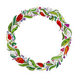 Detailed contour wreath with herbs, tulips and wild leaves isolated on white. Round frame for your design Stock Image