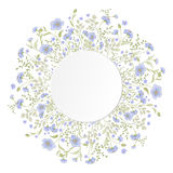 Detailed contour wreath with herbs and wild flowers Royalty Free Stock Photo