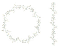 Detailed contour wreath with lilies of the valley Royalty Free Stock Image