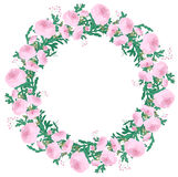 Detailed contour wreath with ranunculus vector illustration