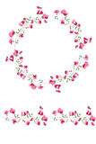 Detailed contour wreath and seamless pattern brush with sweet peas isolated on white. Endless horizontal texture. Stock Photo