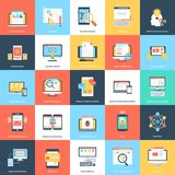 Web And Mobile Development In Flat Design. A detailed and creative  illustrations set of web and mobile app development. This  illustrations set offers variety Stock Images