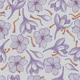 Detailed Crocus Flowers and Saffron Seamless Pattern on Grey Bac vector illustration