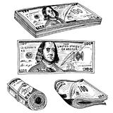 Detailed currency banknotes or american Franklin Green 100 dollars or cash and coin. engraved hand drawn in old sketch Stock Image