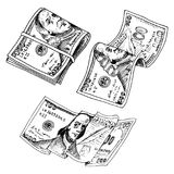 Detailed currency banknotes or american Franklin Green 100 dollars or cash and coin. engraved hand drawn in old sketch. Style, vintage money bill icons Stock Photos