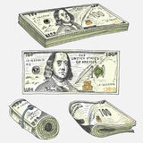 Detailed currency banknotes or american Franklin Green 100 dollars or cash and coin. engraved hand drawn in old sketch Royalty Free Stock Image