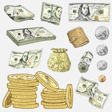 Detailed currency banknotes or american Franklin Green 100 dollars or cash and coin. engraved hand drawn in old sketch. Style, vintage money bill icons Royalty Free Stock Images