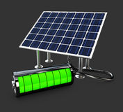 Detailed 3d Illustration of Electric Solar Panel with full battery. Detailed 3d Illustration of Electric Solar Panel with battery Royalty Free Stock Photo