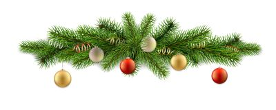 Detailed decor fir branch ball. Detailed vector Merry Christmas decor with fir branches and balls. Element for design greeting card or flyer Royalty Free Stock Photo