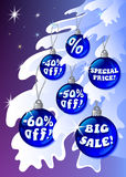 Detailed Discount Christmas Labels on the fir Stock Images