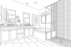 Detailed Drawing of A Custom Master Bathroom on White Stock Photos