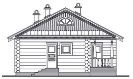 Detailed drawing of wooden sauna facade Stock Image