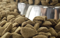 Detailed  dry dog food from a steel bowl Royalty Free Stock Images