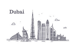 Detailed dubai line vector cityscape with skyscrapers. Uae landmark skyline. Architecture dubai skyscraper in linear style illustration Royalty Free Stock Images