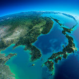Detailed Earth. Korea and Japan. Highly detailed planet Earth in the morning. Exaggerated precise relief lit morning sun. Detailed Earth. Korea and Japan Royalty Free Stock Image
