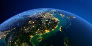 Detailed Earth at night. Eastern China and Taiwan royalty free illustration
