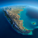 Detailed Earth. South America. Tierra del Fuego Royalty Free Stock Photos