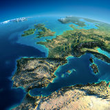 Detailed Earth. Spain and the Mediterranean Sea. Highly detailed planet Earth in the morning. Exaggerated precise relief lit morning sun. Part of Europe, the Royalty Free Stock Photography
