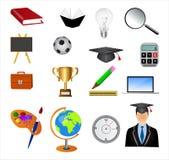 Education icon set. Detailed education icon set isolated on white Royalty Free Stock Photo