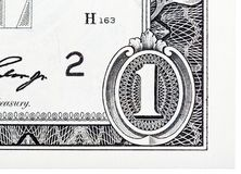 Detailed element based on a one dollar bill. Stock Images