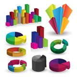 Detailed elements of info-graphics with graphs Stock Photos
