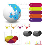Detailed elements of info-graphics with tags Royalty Free Stock Photography