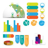 Detailed elements of info-graphics with tags and navigation pins Stock Photos
