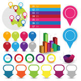 Detailed elements of info-graphics with tags and navigation pins Stock Images