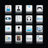 Detailed entertainment icons on black Royalty Free Stock Photography