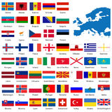 Detailed European flags and ma. P manually traced from public domain map. EPS file available Royalty Free Stock Images