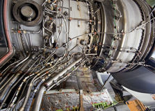 Detailed exposure of a turbine jet engine. Royalty Free Stock Photos