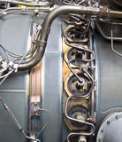 Detailed exposure of a turbine jet engine parts. Royalty Free Stock Image