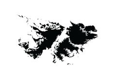 Falkland Islands map silhouette. Detailed Falkland Islands map silhouette,  map isolated on white background. High detailed silhouette illustration Stock Photo