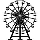 Detailed Ferris Wheel in  silhouette. Detailed illustration of a ferris wheel from an amusement park Stock Photo