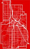 Map of the minneapolis city in the style of flat design. Detailed flat design map of the minneapolis city in USA vector illustration