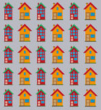 Detailed flat houses pattern. Royalty Free Stock Images