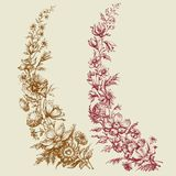 Floral branches retro style vector illustration