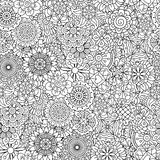 Detailed floral disk shapes as seamless pattern Royalty Free Stock Photos