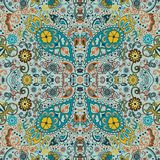 Detailed floral and paisley design, fabric, bandana. Seamless retro pattern Royalty Free Stock Image