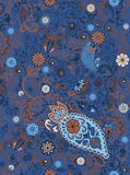 Detailed floral and paisley scarf design, fabric, bandana. Royalty Free Stock Images