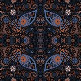 Detailed floral and paisley scarf design.Seamless retro pattern. Stock Photos