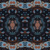 Detailed floral and paisley scarf design.Seamless retro pattern. Stock Photography
