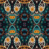 Detailed floral and paisley scarf design.Seamless retro pattern. Royalty Free Stock Photo