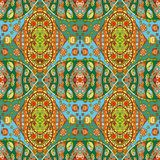 Detailed floral and paisley seamless pattern. Royalty Free Stock Photo